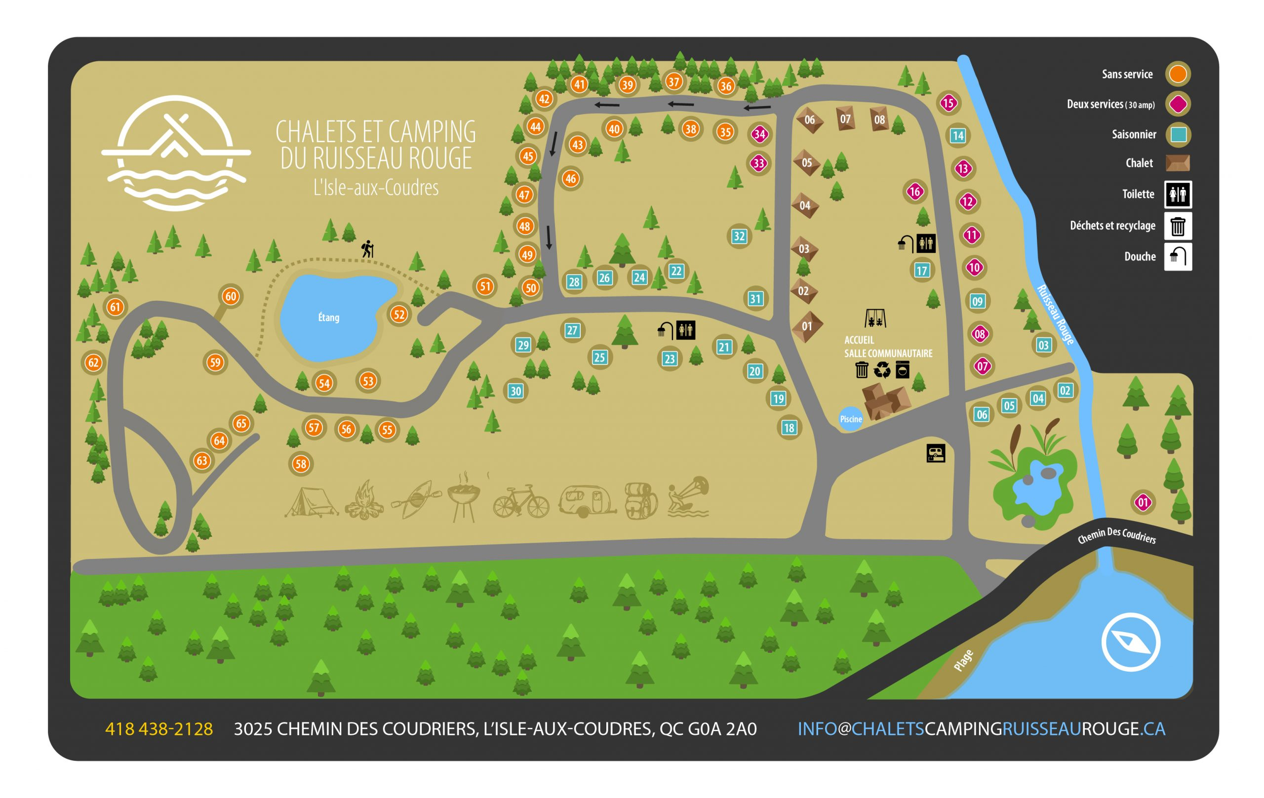 carte chalets camping ruisseau rouge isle-aux-coudres charlevoix
